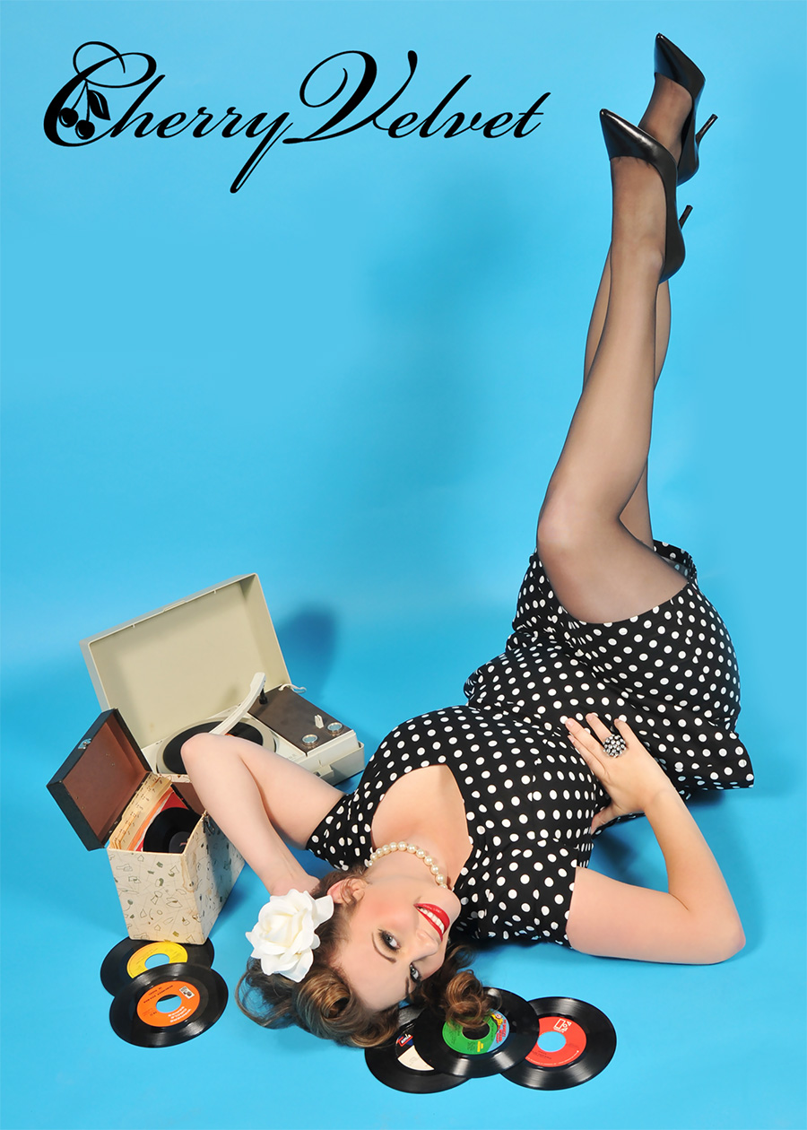 Miss Lucky Dee wearing Cherry Velvet's Ava Dress in Black & White Polka Dots