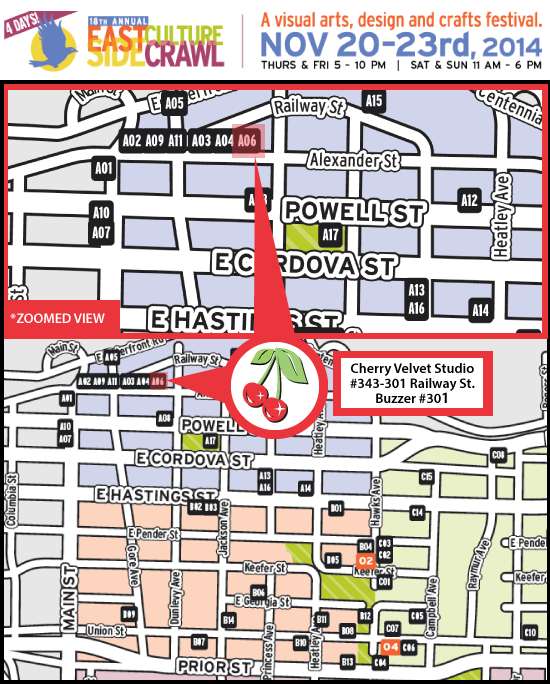 Eastside Culture Crawl Map | Cherry Velvet #301-454 Railway St. Vancouver