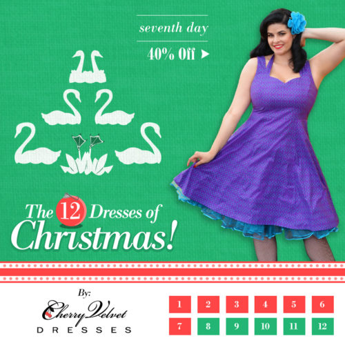 The Twelve Days of Christmas - #7  Marilyn Dress in Violet Lattice