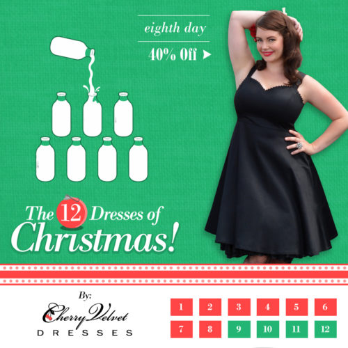 The Twelve Days of Christmas - #8 Lucy Dress in Black Sateen