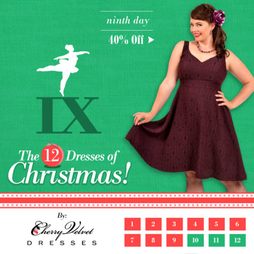 The Twelve Days of Christmas - #9 - Charlotte Dress in Plum Brocade