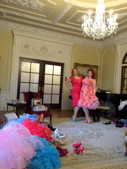Behind the scenes at Hycroft with Charlotte (Natalie Dress) and Ruby Roxx (Brooke Dress)