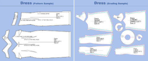 Examples of patterns and grading made by Fashionmark
