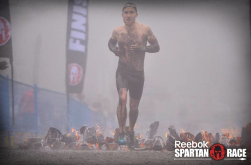 Logan finishing the Spartan Race