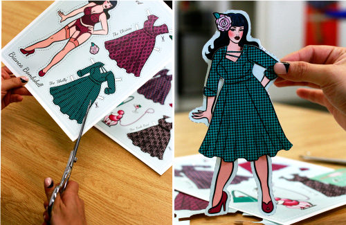 Cherry Velvet Pin Up Paper Dolls Cut Out and Play