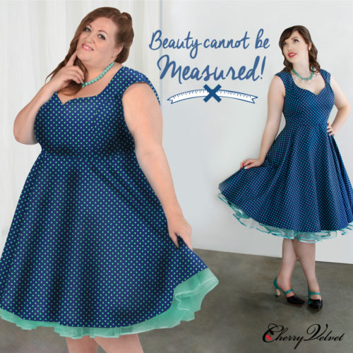 Body Positive image of models in two sizes wearing the Cherry Velvet Brooke Dress