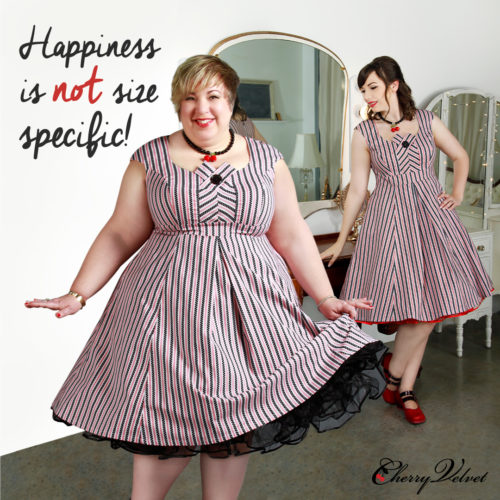 Body Positive image of models in two sizes wearing the Cherry Velvet Kate Dress