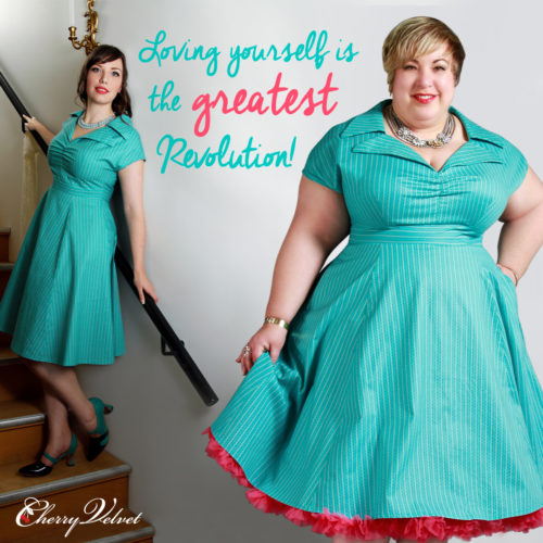 Body Positive image of models in two sizes wearing the Cherry Velvet Paige Dress