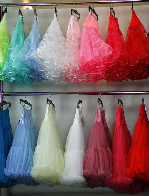 Colourful selection of crinolines at Cherry Velvet