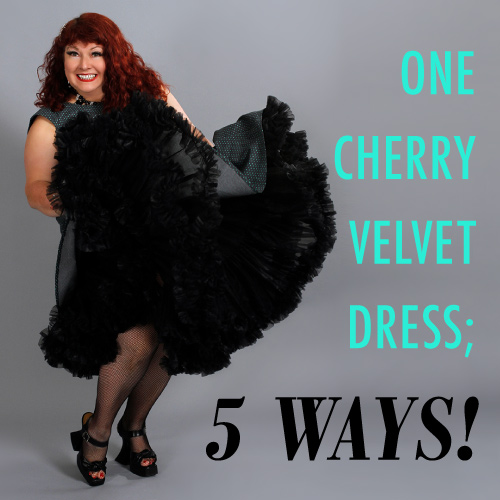 One Cherry Velvet Dress; 5 Ways