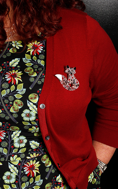 Erstwilder brooches make cute and quirky companions to a Cherry Velvet Dress!