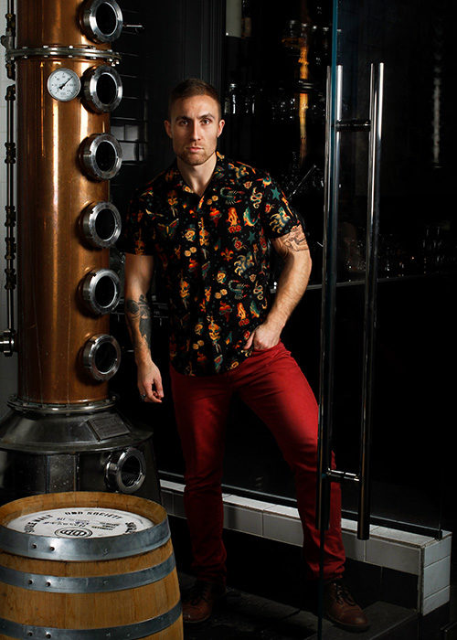 "Cherry Velvet men's shirt ""Parlour Ink"""