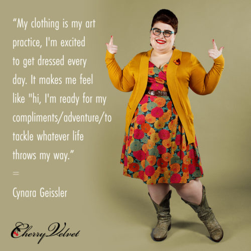 Fashion Icon Cynara Geissler styles Cherry Velvet dresses.