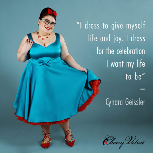 Fashion Icon Cynara Geissler styles Cherry Velvet Lunar Cats dress. 2