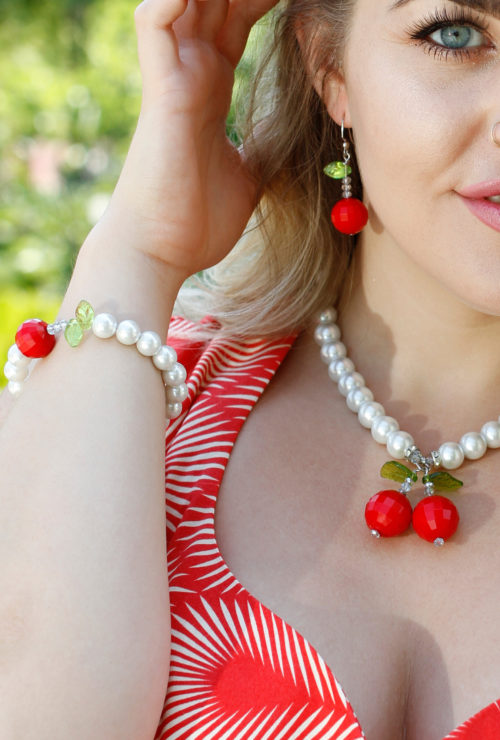 Vintage inspired Cherry Necklace and Earring Jewelry Set from Cherry Velvet Dresses.