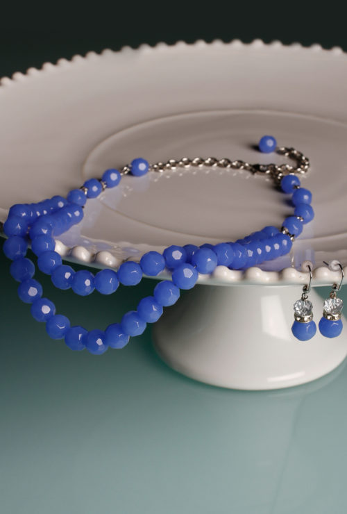 Vintage inspired Cornflower Blue Necklace and Earring Jewelry Set from Cherry Velvet Dresses.