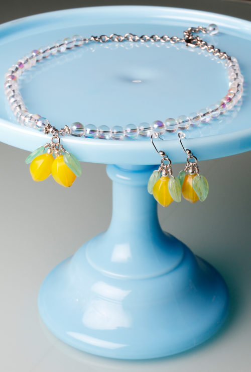 Vintage inspired Lemon Soda Necklace and Earring Jewelry Set from Cherry Velvet Dresses.