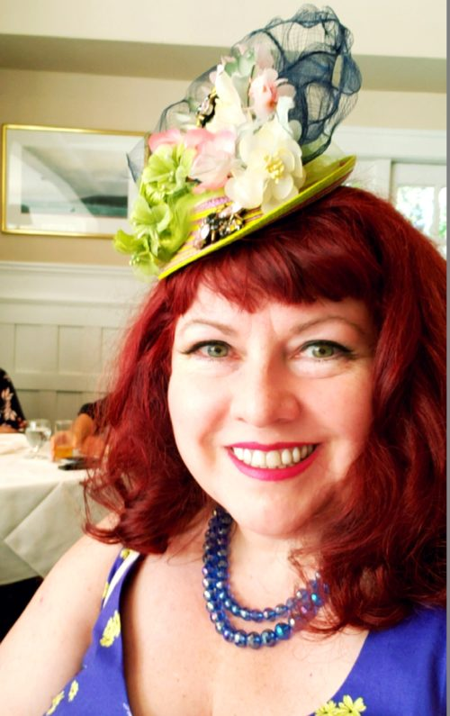 Canadian designer Diane Kennedy of Cherry Velvet wearing a hat designed by Maria Curcic