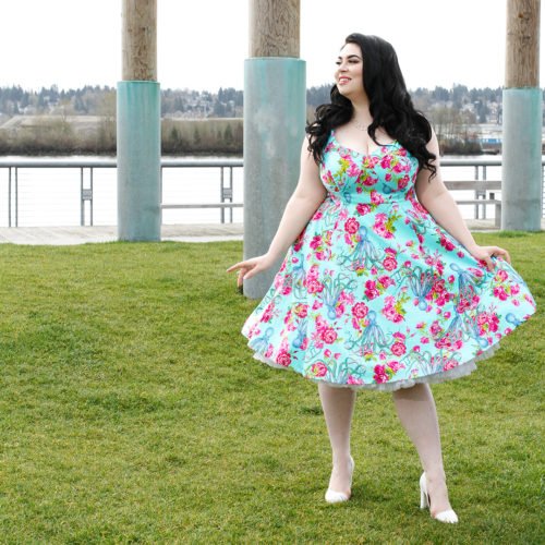 Model Veronica Belle wears a Cherry Velvet dress called Doris in Octopus's Garden